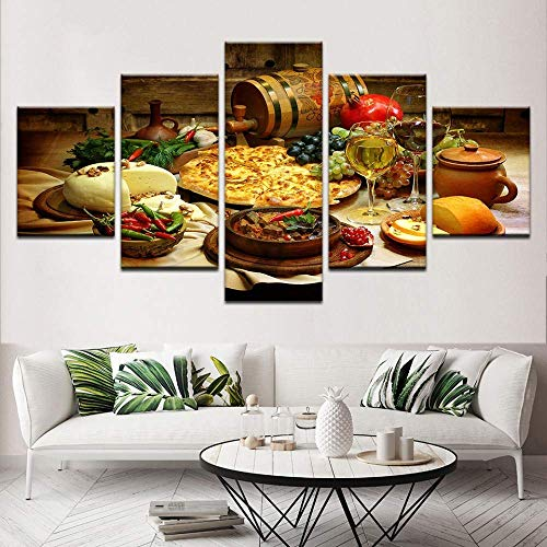 SLSMD-ART Fotobehang 5 stuks canvas gedrukt keuken eten en drinken muurkunst woonkamer slaapkamer decoratie, 100x55cm Eén maat 40 x 60 cm x 2 40 x 80 cm x 2 40 x 100 cm x 1