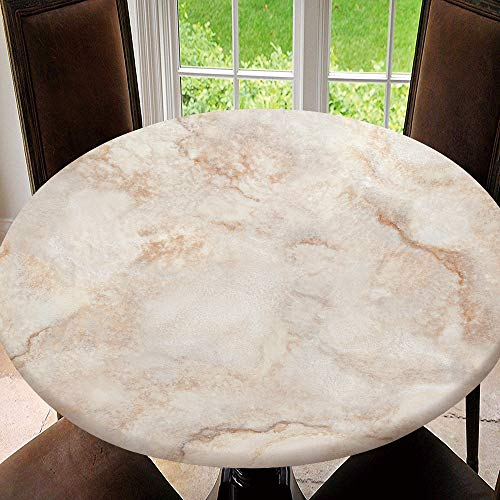 AmaUncle Elastic Edged Table Cover, Round Tables Tablecloth Table Cloth, Travertino, Marble Texture, Stone Background Waterproof Table Pads Tablecloth Size 64'(Fit for 52.2'-56.1' Table) SW89021