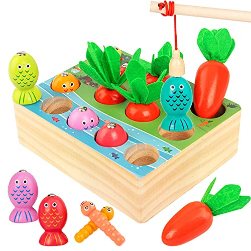 MMTX Holzspielzeug ab 1Jahr, Montessori Motorik Angelspiel Spielzeug, Lernspielzeug - Lernspiele, Fische Angeln Spiel Holzspielzeug Geschenk für Kinder Kleinkind ab 2 3 Jahre Jungen und Mädchen Baby