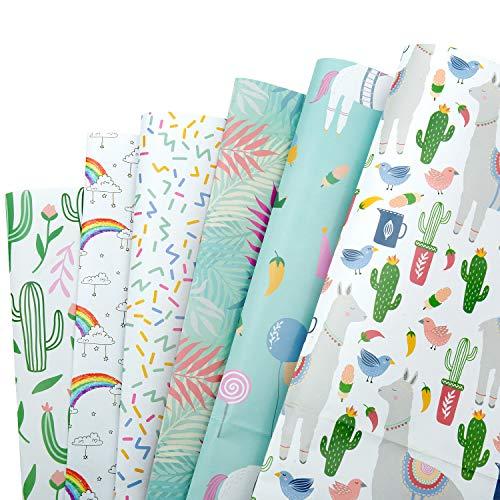 MOOKLIN ROAM Geschenkpapier, 6 Bogen Packungen Geschenkpapier mit 6 Verschiedene Designs für Geschenk Geburtstag Hochzeit Taufe Party, Kinder, Männer, Damen, 70 x 50 cm