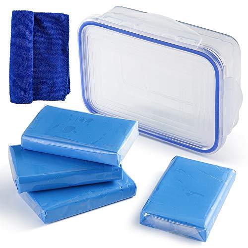 Dibiao 4 Pack Car Clay Bar Auto Detailing Kit de limpiador de arcilla Magic Wash con toalla de limpieza y caja de almacenamiento
