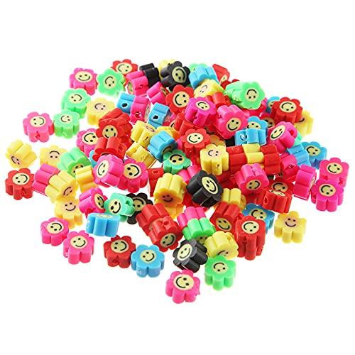 100 PCS Flor del sol Perlas de la Cara de la Sonrisa para Niños de Niña Pulsera Collar Accesorios de Joyería 10mm (Girasol)