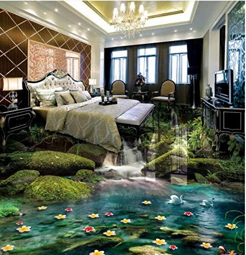 Suelo 3D vinilo pvc bosque cascadas autoadhesivo pvc foto papel de pared mural 3d suelo baldosas-350 * 275 cm