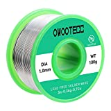 Owootecc 1,0 mm Alambre de soldadura con alambre de estaño de núcleo de colofonía, 100 g, Cu 0,7% Ag 0,3% para soldadura eléctrica y bricolaje
