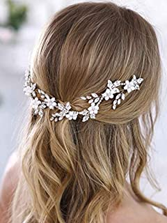 Aukmla Bridal Flower Crown Bridal Hair Vine White Flower Crown Leaf Hair Vine Ivory Floral Crown Wedding Flower Crown First Communion Headpiece for Women and Girls