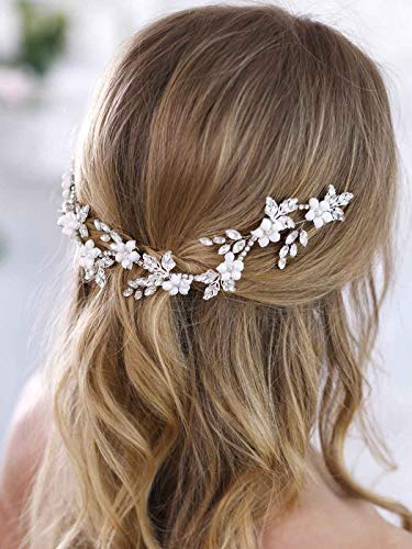 Aukmla Bridal Flower Crown Bridal Hair Vine White Flower Crown Leaf Hair Vine Ivory Floral Crown Wedding Flower Crown First Communion Headpiece for Women and Girls