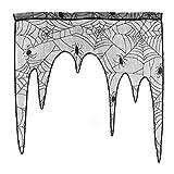 BESTOYARD Halloween Spider Web Lace Door Window Valance Curtain for Spooky Halloween Holiday Party Decoration(Black)