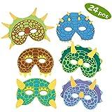 Máscaras para fiestas de dinosaurios,24 Pack Máscaras de espuma para disfraces de dinosaurios Suministros para fiestas de cumpleaños Mascarada para niños Fiestas temáticas Favores Decoraciones
