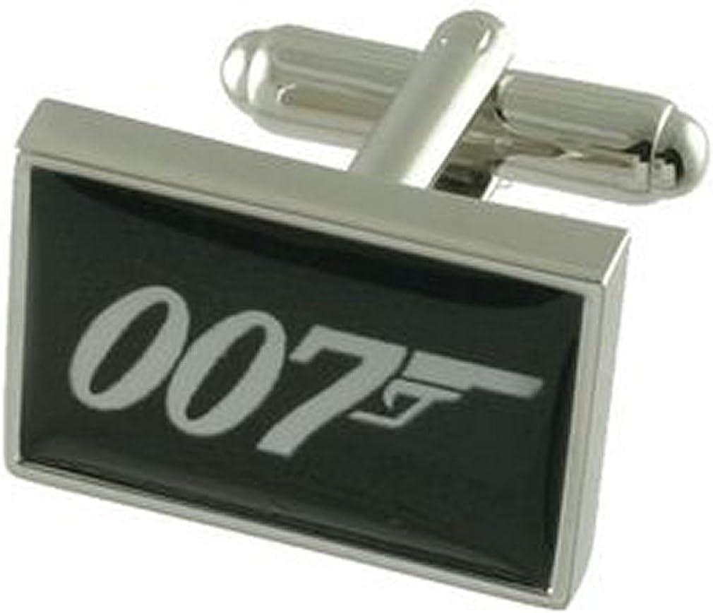 Cuff links 007 James Bond Style Cufflinks~Secret Agent Spy Cufflinks + Hand Made Black Pouch