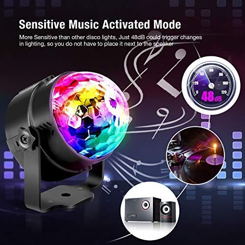 Techole Discokugel LED Party Lampe Musikgesteuert Disco Lichteffekte Discolicht mit 4M USB Kabel, 7 Farbe RGB 360° Drehbares Partylicht mit Fernbedienung für Weihnachten, Kinder, Kinderzimmer, Party - 2