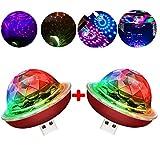 USB Mini Disco Ball Light, Voice Control Party Light, Mini Portable Strobe Light, LED car USB Atmosphere Light, Suitable for Christmas/Halloween/Home Interior, etc, red (2 pcs)