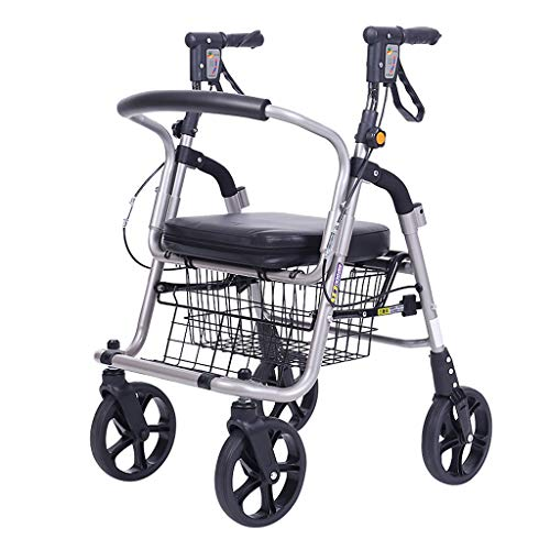 Rollatoren- Faltbarer, Leichtgewicht / 4 Räder/Doppelbremsanlage/Beladung 120 kg, mit einzigartiger Lenkrolle/Gehhilfe auf Rädern, Rahmen, Gehhilfe