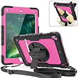Weuiean Compatible with iPad Air 2 Case, 360 Degrees Rotate Hand Controlling Case with Built-in Stand Screen Protector, Full-Body Shock Proof Protective Case for iPad Air 2 A1566,A1567 - Rose