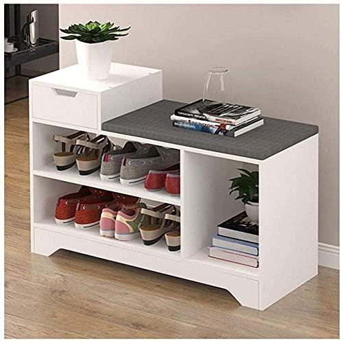 ZAIHW Banco de Almacenamiento de Zapatos de Madera Blanca, Armario con cajón y Taburete para Cambiar Zapatos con cojín Gris