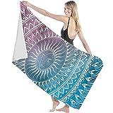 Toalla de Microfibra Secado rápido, Ligera, Absorbente, Suave y grante Yoga, Fitness, Playa, Gimnasio Diseño de círculo de Mandala 130X80cm