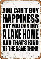 家の装飾-あなたは幸福を買うことはできませんが、あなたは湖を買うことができます。 コーヒーショップバークラブのためのヴィンテージメタルティンサインプレート壁の装飾プラーク
