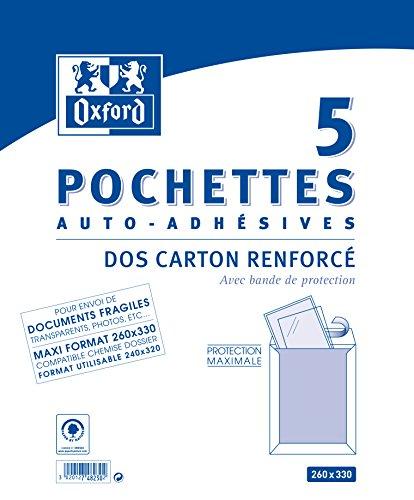 Oxford Correspondance Enveloppes Pack de 5 dos cartonné Blanc