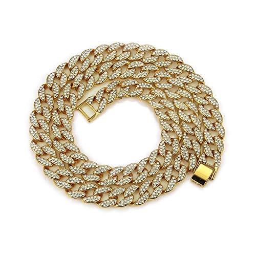 AdorabFruit Présent Pendentif 1 Juego 13MM Plata del Oro de la Cadena de Bling Rapero Collares for los Hombres joyería (Color : 24Inch, Size : Gold)