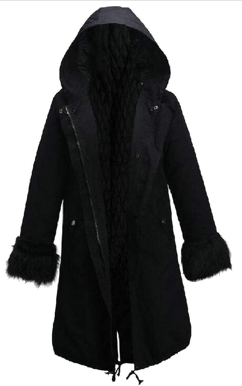 TymhgtCA Women's Winter Thicken Warm Faux Fur Jacket Parka Hooded Coat Overcoat