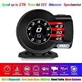 FHD HUD OBD2 Gauges Heads-up Display Speedometer Turbine Pressure 4' OBD-II Diagnostic Tool 6 Modes Oil/Water Temperature Alarm Voltage RPM Fatigue Driving Alarm Driving Mileage A/F Ratio Intake