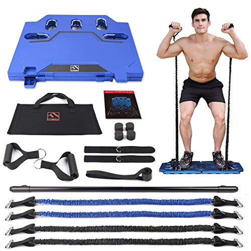 FITINDEX Portable Home Gym - Exercise Equipment with Resistance Bands Bar, Muscle Build Workout...