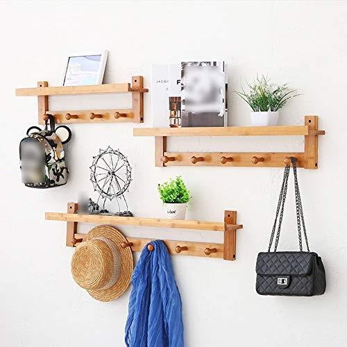 Kapstok Sjaal wandkapstok Haken Solid hout huiskamer Entree Slaapkamer hangers (Color : Wood Color-3-piece Set)