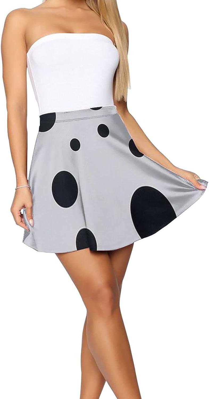 BSWOBATH Avant Garde Art Black Dots Women's Short Skirt Stretch Waist Casual Lightweight Skirt Large