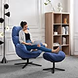 ONME Swivel Recliner with Ottoman, Recliner Armchair w/Rocking Footstool, Aluminum Alloy Base, Comfy Fabric Leisure Sofa Club Chair, Support to 330lbs (Blue)