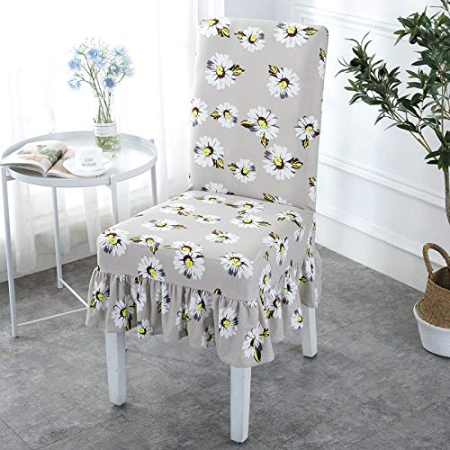 Jasken yyqx container Chair Cover Home Stretch Conjoined Hotel Dining Table and Chair Back modern Minimalist European Fabric seat Cover Stool Set, Skirt Flower Room 4