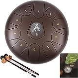 AiLa Tambor de Lengua de Acero, Tonos C 11 Notas 12 Pulgadas Tambor de Mano, Percusión Instrumento Tankdrum con Mazos/Bolsa para Meditación Yoga Sanación Sonora(Bronce)