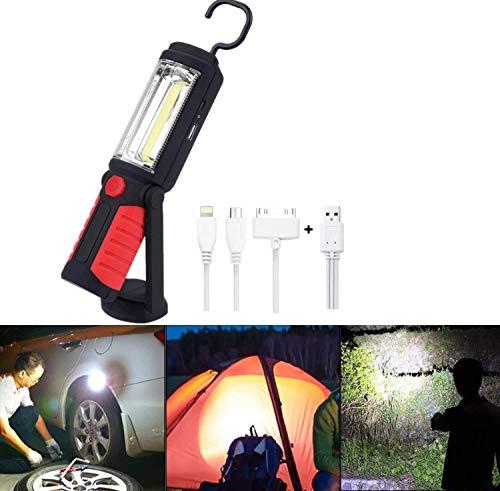 Luz de trabajo recargable por USB, lámpara de inspección con base magnética y gancho para colgar, linterna LED superbrillante portátil para camping, taller de reparación de vehículos y hogar