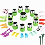 Vegetable Cutters Shapes Set, 12pcs Stainless Steel Mini Cookie Cutters, Vegetable Cutter and Fruit Stamps Mold + 20pcs Cute Cartoon Animals Food Picks and Forks -for Kids Baking and Food Supplement