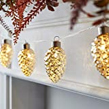 Lights4fun, Inc. 10 Mottled Glass Pine Cone Fall Thanksgiving Indoor Battery Operated LED String Lights