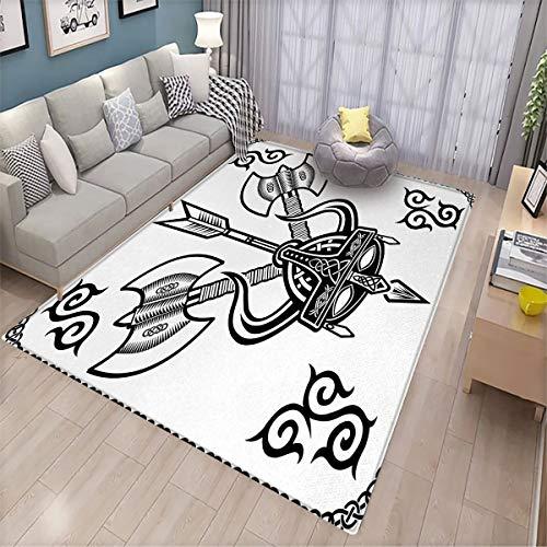 Viking Bathroom Floor mat Helmet with Horn Arrow Axe Antique War Celtic Style Medieval Battle Art Prints Various Patterns of Floor mats 6.6'x9' Black White