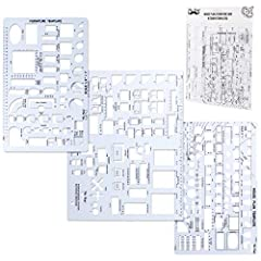 3 Pc Architect Drawing And Interior Design Template Set (Scale: 1/4 Inch = 1 Ft): House Plan Template, Furniture Template, And Kitchen, Bed & Bath Template House Plan Template: Kitchen Appliances, Door And Electric Symbols, Plumbing Fixtures, And Roo...