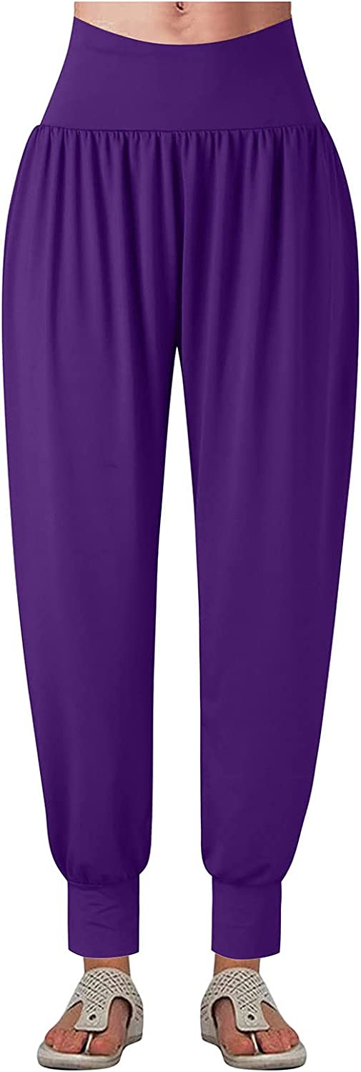 iCODOD Harem Pants for Women Casual Loose Pants Solid Color Pants Elastic Waist Pants with Tie Feet Cozy House Pants