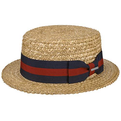 Stetson Sombrero Canotier Vintage Boater Hombre - de Playa Sol con Banda Grosgrain Primavera/Verano