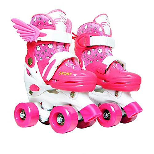Sumeber Inline Skates Kinder mit Verstellbarer Länge Kid Boys Girls Rollschuhe Outdoor/Indoor (Pink-Quad Roller, XS (27-30))