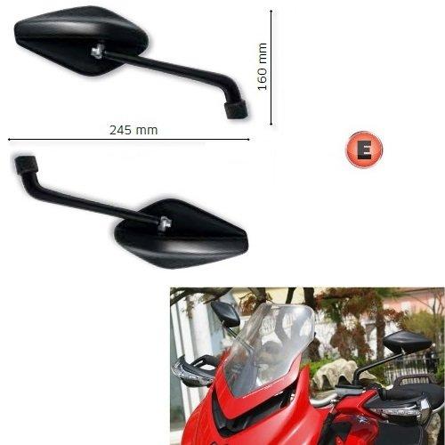 pour Aprilia Caponord ETV 1000 2001 – 2004 Paire Rétroviseurs Far Viper New Line Rétroviseur de Guidon Moto Homologué Noir + kit Fixation m8