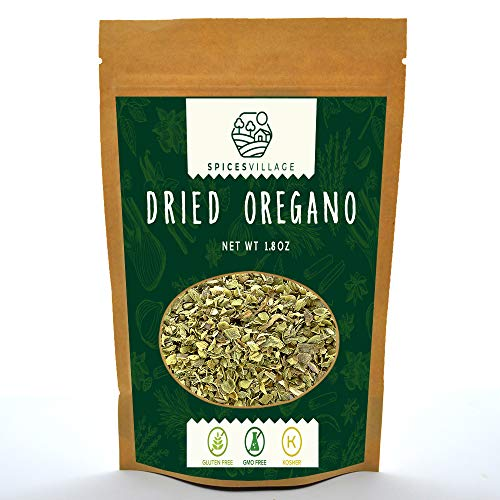 Spices Village Dried Oregano, All Natural Fresh Oregano Leaves from Turkey, Kosher, Gluten Free, Non GMO, Dry Herbs and Spices, Ground Pure Mediterranean Seasonings, Resealable Bulk Bag 1.8 Oz