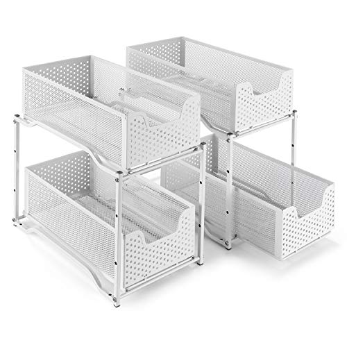 2 Pack - Simple Trending Stackable 2-Tier Under Sink Cabinet Organizer with Sliding Storage Drawer, White