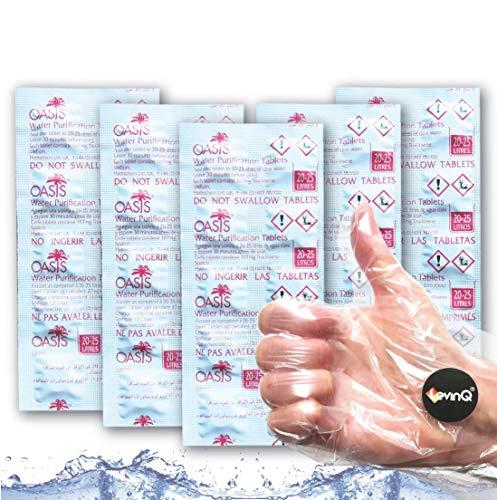 LevinQ Rudergerät wie Waterrower Vorteilspack 5X 10 Tabletten für Wassertank Handschuhe, Gegen Algen, Jahresbedarf, Water Purification Tablets, Puritabs, Entkeimungsmittel Wasser Rower
