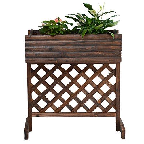 Support extérieur de fleur de grille de balcon de balcon en bois solide carbonisé, 74 * 35 * 81CM
