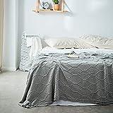 FGDSA Manta de lana, de punto de algodón, manta de microfibra para la siesta de la rodilla, manta de otoño e invierno, manta de punto de algodón para el hogar, suave decoración superior peinada
