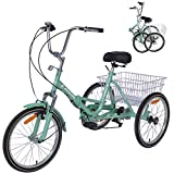 MOPHOTO Adult Folding Tricycle, 20 Inch Wheel Folding Bicycle Trike for Unisex (Green, 20-inch Wheels 7-Speed)