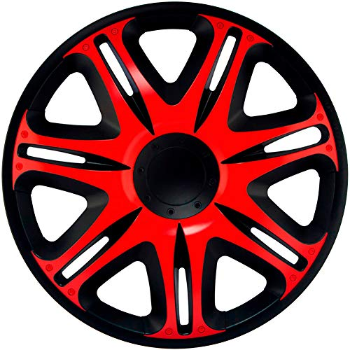 J-Tec J16512 set wieldoppen Nascar 16 inch zwart/rood