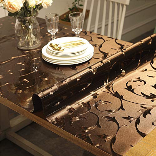 OstepDecor Custom Brown Table Protector for Dining Room Table - 60 x 36 Inch Rectangular Plastic Protective Table Pad Kitchen Wood Grain Vinyl Tablecloth Cover