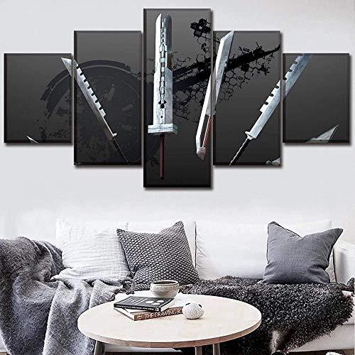 wodclockyui 5 Piezas Cuadro de Lienzo- Espada de Final Fantasy Decoración de Pared para el hogar Pinturas y Carteles de Arte HD 200cmx100cm sin Marco
