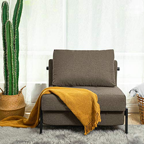 Vonanda Sofa Bed, Sleeper Convertible Chair Multi-Function Guest Bed Modern Breathable Linen Folding Bed with Hidden Legs for Small Room Apartment, Light Brown