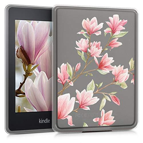 kwmobile Funda Compatible con Amazon Kindle Paperwhite - Carcasa de Cristal y TPU para e-Book - Magnolias Rosa Claro/Blanco/Transparente (para Modelos hasta el 2017)